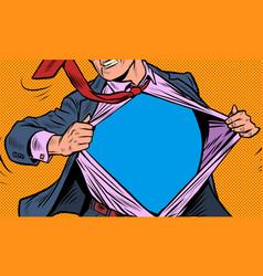 Superhero businessman tearing suit vector