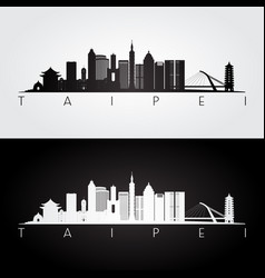 Taipei skyline and landmarks silhouette vector