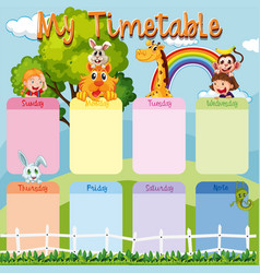 Timetable template with animals and kids vector