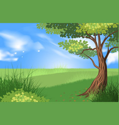 Tree and green grass scene vector