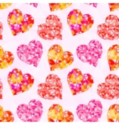 valentine hearts background low poly vector image