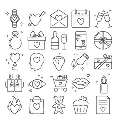 valentines day icon set in line style vector image