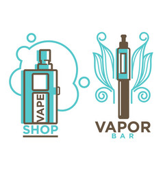 Vapor bar and shop logo design isolated vape e vector