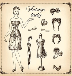 Vintage lady and her toilet articles hand drawing vector image