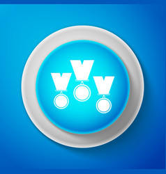 White medal set icon isolated winner simbol vector