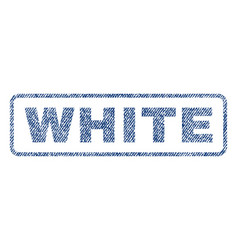 White textile stamp vector