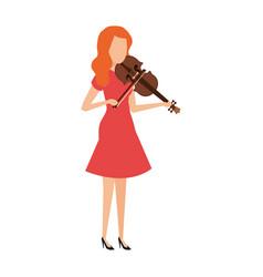 Woman playing violin character vector