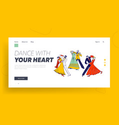 young and aged couples waltz dancing landing page vector image