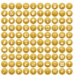 100 eco design icons set gold vector