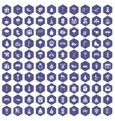 100 winter holidays icons hexagon purple vector image vector image