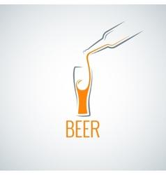 Beer glass bottle menu background vector