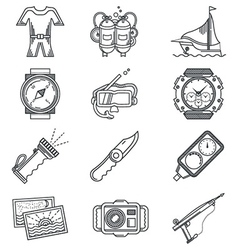 Black line icon for snorkeling vector image