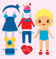 cute girl paper doll for kids dress up the doll vector image vector image