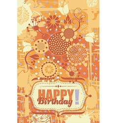 Floral Birthday Greeting Card vector image