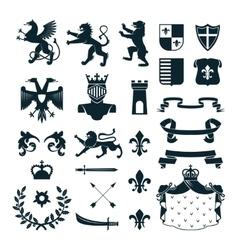 Heraldic Symbols Emblems Collection Black vector image