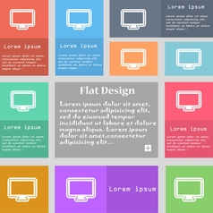 monitor icon sign Set of multicolored buttons with vector image vector image