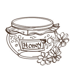 monochrome honey pot isolated on white background vector image