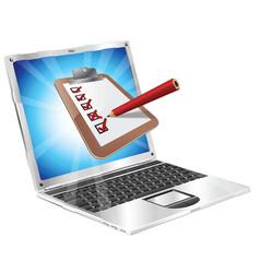 online survey laptop clipboard concept vector image vector image