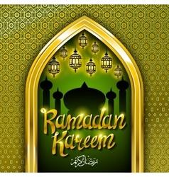 Ramadan greeting card on green background vector image vector image