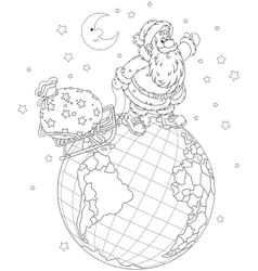 Santa with gifts on a globe vector