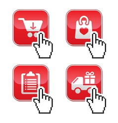 Shopping buttons set with cursor hand icon vector image vector image