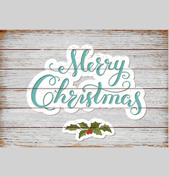 calligraphy lettering merry christmas with hand vector image