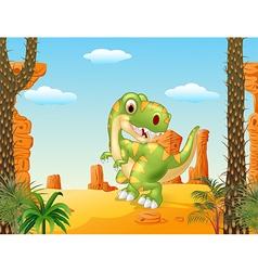 Cartoon dinosaur tyrannosaurus looks sideways vector image