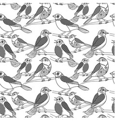 hand drawn birds seamless pattern vector image