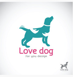 human hand that hugs the dog on white background vector image