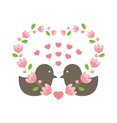 Love Birds Wearing A Heart Wreath vector image vector image