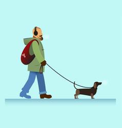 man with dog walking vector image