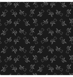 Seamless pattern with cartoon cute outline rabbit vector image