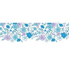 Blue and pink kimono blossoms horizontal seamless vector image