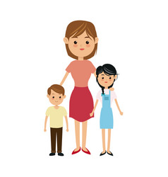 Cartoon mother with two children a boy and a girl vector