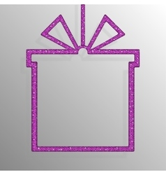 Frame pink sequins gift box gift surprise vector