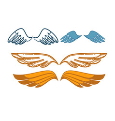 gorgeous wings set isolated on white angel gold vector image vector image