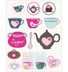 lovely tea set vector image vector image