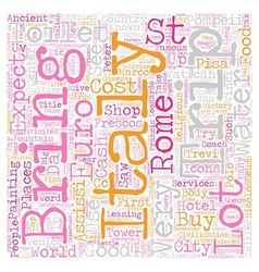 Our trip to italy april text background wordcloud vector
