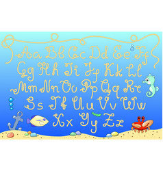 rope alphabet with marine vector image