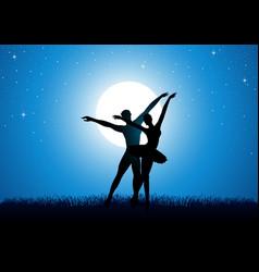 Silhouette of a couple dancing ballet vector