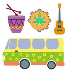 campers vacation travel car and rastafarian music vector image vector image