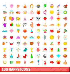 100 happy icons set cartoon style vector image