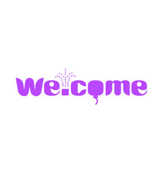 A long purple banner with text welcome vector