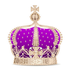an of the royal golden crown with pearls and a vector image vector image