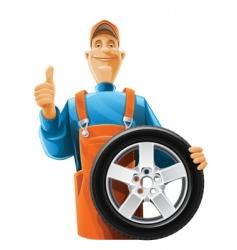 auto mechanic with wheel vector image vector image