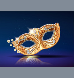 beads near golden mask for festival carnival vector image