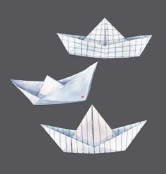 Beautiful set with watercolor paper boats vector