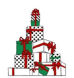 big pile of gift boxes stripes and polka dots vector image