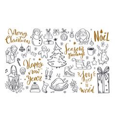 big set of christmas design doodle elements 6 vector image