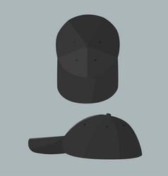 Black cap with top and side view vector